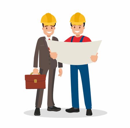 Engineer and foreman discuss draft building. Vector illustration in a flat style. Vektoros illusztráció