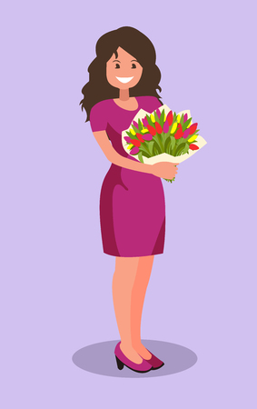 Happy girl holding a bouquet of flowers. Congratulations on the 8 of March Women s Day or birthday. Vector illustration in cartoon style.