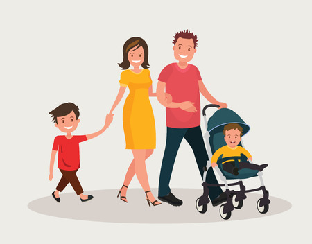 Young family. Parents with baby. Mom and dad walk with his firstborn and eldest son. Vector illustration in flat style