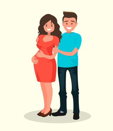 Young happy couple. Pregnant wife and her husband together. Vector illustration of a flat design