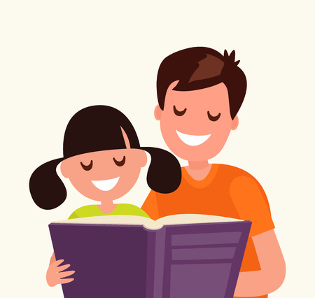 Father reading a book to his daughter. Vector illustration of a flat design Ilustração