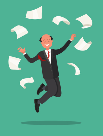 Great success in the work. Office worker jumps and throws the paper. Vector illustration in cartoon style