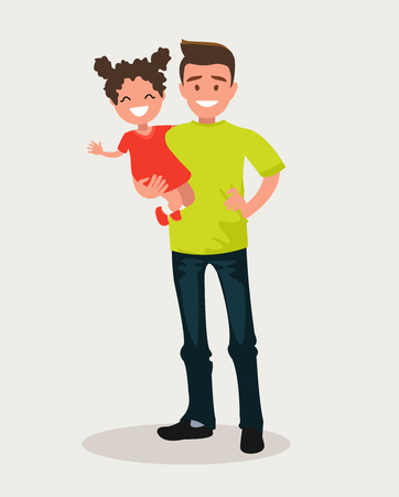 Happy Dad keeps daughter in her arms. Vector illustration of a flat design.