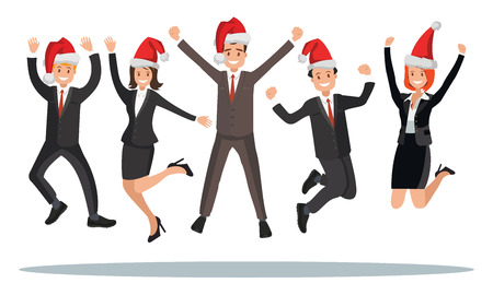 Business people in Christmas hats are jumped. Vector illustration of a flat design