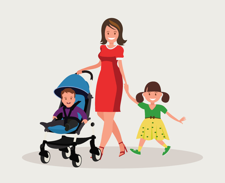 Motherhood. Happy young mother with her daughter and a toddler in a pram. Vector illustration