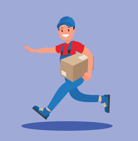 Kurier läuft mit dem Paket. Das Konzept der schnellen Lieferung.
