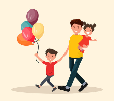 Paternity. Father with son and daughter have fun. Vector illustration in flat style.