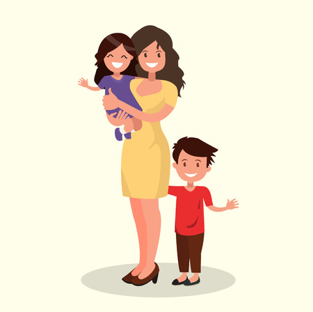 Happy mother with daughter and son. Vector illustration of a flat design.