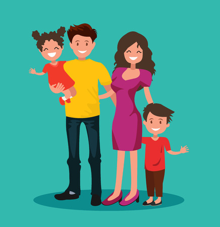 Happy family. Father, mother, son and daughter together. Vector illustration of a flat design.