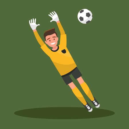 Goalkeeper catches the ball. Football. Vector illustration.