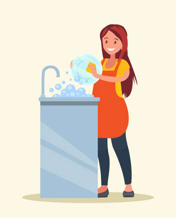 Housewife. The woman wearing in an apron is washing dishes. Vector illustration of a flat design Vektoros illusztráció