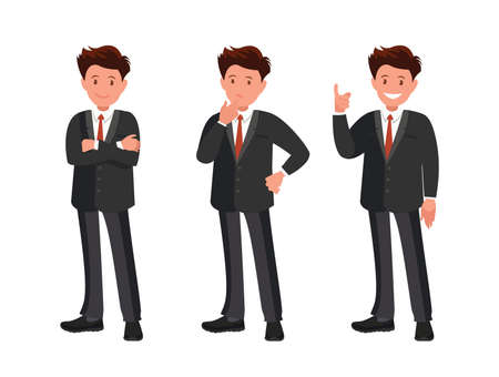 Character set. The businessman thinks, finds a solution and is happy. Vector illustration in cartoon style. Ilustración de vector