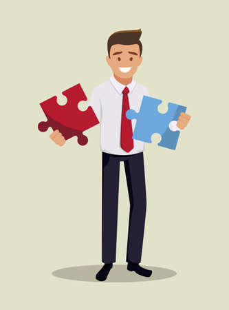 The businessman holds two pieces of the puzzle in his hand. A metaphor for solving a problem. Vector illustration in a flat style.