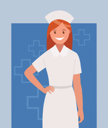 A female doctor in a uniform. A medical specialist. A hospital employee. Vector illustration in a flat style.