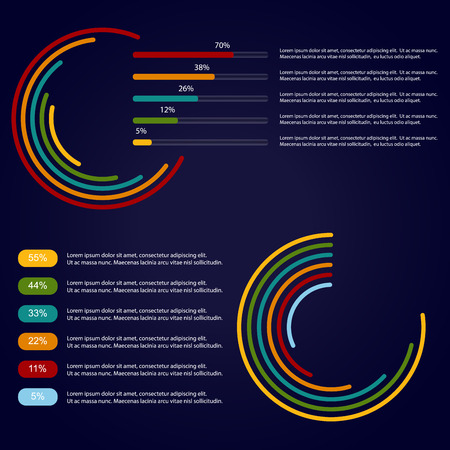 Business info-graphic template design with 5 - 6 options.