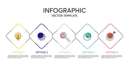 Creative vector infographic with 5 options, steps or processes. Thin colorful line flat elements for infographic. Concept for presentation, report, workflow, strategy. Business data visualization.