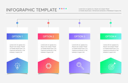 Minimalistic business infographics with 4 steps, options. Creative vector linear infographic with four conected element with icons and place for text. Can be use for report, strategy, presentation.