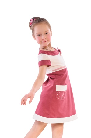 little girl dancing in a pink dress Stock Photo - 12802842
