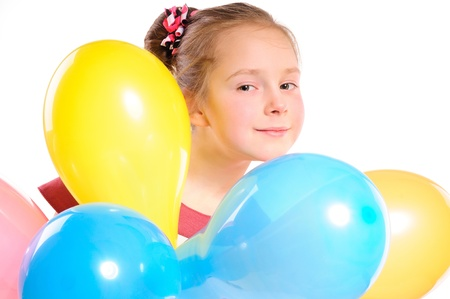 girl s portrait  with many balloons photo