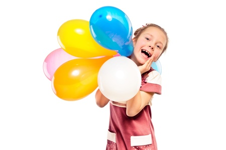 cheerful girl and multicolored balloons photo