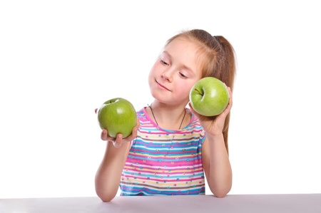 Girl holding two green apple