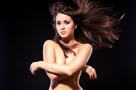 beautiful young woman  Her hair is blown Stock Photo - 12802874