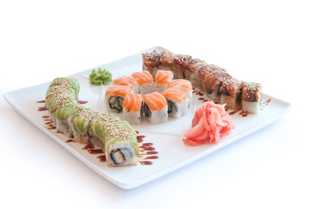 large set with sushi and rolls photo