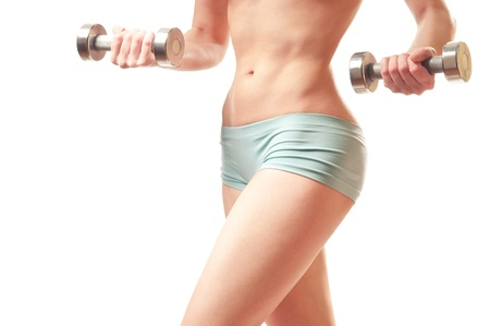 fitness with dumb-bells. thin waist Stock Photo - 12802934