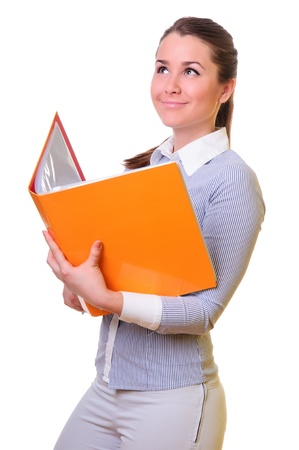 attractive businesswoman holding open folder in hands. positively smiling. isolated on a white background 版權商用圖片