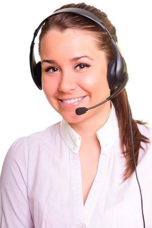 ヘッドセットのかなりビジネス女性。白い背景の上