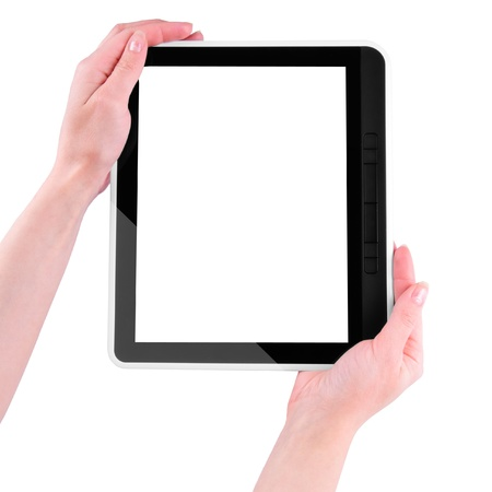 tablet PC with white screen in the hands  isolated on white background  photo