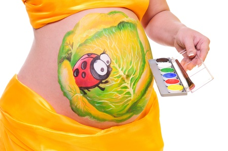 pregnant woman with a picture on her stomach, holding a palette of colors in hand. close-up. isolated in a white  background. without a face Stock Photo