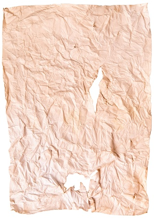 worn old brown paper with scratches. isolated on a white background Stock Photo - 13464936