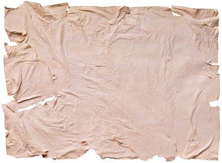 worn old brown paper with scratches. isolated on a white background Stock Photo - 13464948
