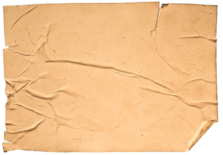 worn old brown paper with scratches. isolated on a white background Stock Photo - 13464941