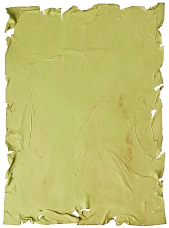 worn old green paper with scratches. isolated on a white background Stock Photo - 13464940