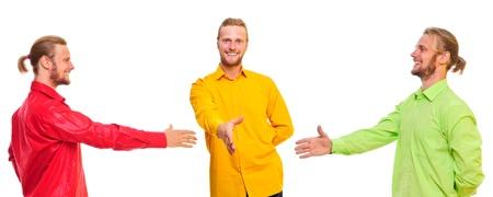 Three similar men make a handshake  a friendly smile  isolated on a white background Stock Photo - 13465076