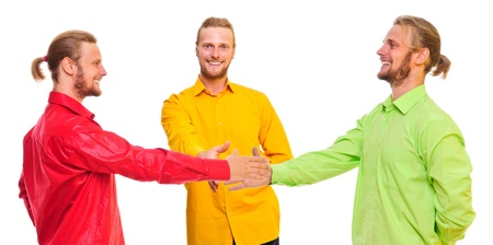 Three similar men make a handshake  a friendly smile  isolated on a white background