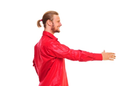 positive man in a red shirt, a friendly hand held out. isolated on a white background