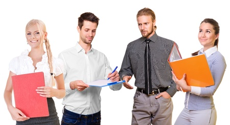 Business people standing talking, and the team look into the future. isolated on a white background photo