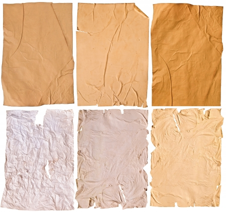 Collection of six specimens of the old brown paper texture. isolated on a white background. large original size photo