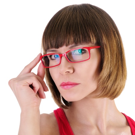 closeup picture of lovely woman in glasses  isolated on a white background  Close-up portrait