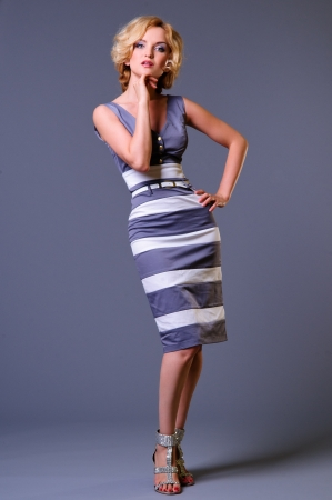 beautiful young businesswoman wearing a dress  in full growth  on a gray background Stock Photo - 14157186