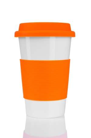 orange travel mug isolated on white  Stock Photo - 14315058