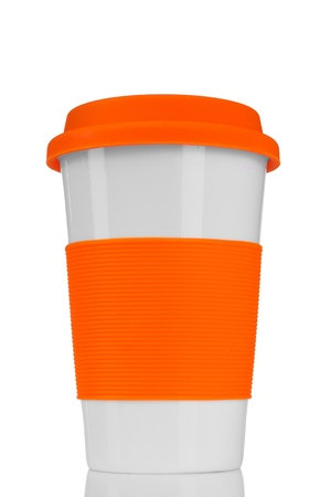 insulated drink container: orange travel mug isolated on white