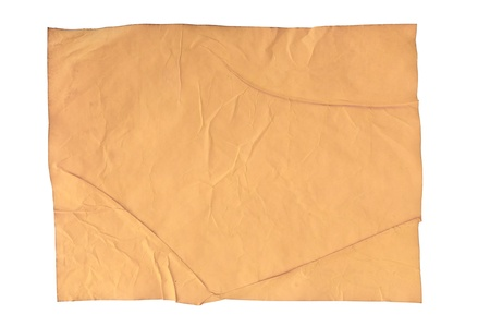 worn old brown paper with scratches. isolated on a white background Stock Photo - 14315070