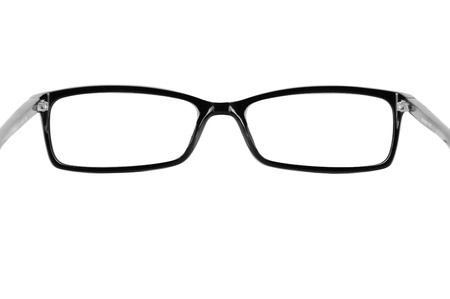 Closeup image  black classic glasses while putting your eye-wear on, isolated on white background, may use as copy space for your text or object