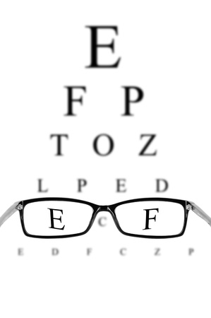 Reading eyeglasses and eye chart  photo