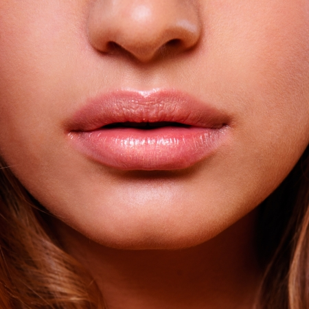 woman mouth open: Close-up face of beauty young woman - lips make-up zone