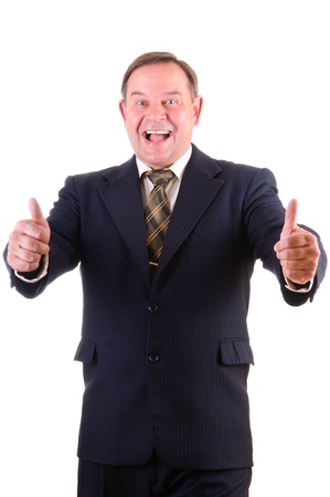 thumbup: Happy smiling businessman with thumbs up gesture, isolated on white background Stock Photo